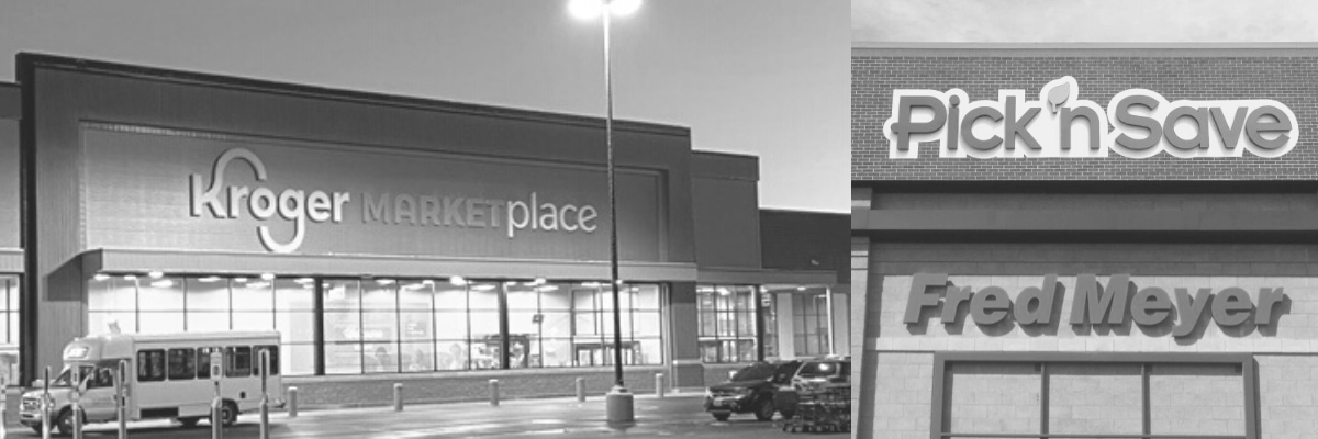 Collage image of exterior signage on Kroger stores and banners